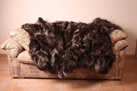 Brown Fox fur blanket throw bed sofa comfort softness Beste gift Handmade fashion