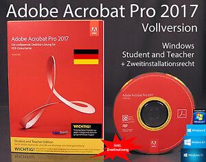 Adobe-Acrobat-Pro-2017-Vollversion-Box-CD-Handbuch-Win-Student-Teacher-OVP-NEU