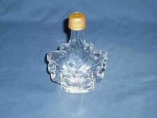 """Collectible Maple Leaf Shaped Clear Glass Syrup Bottle with Cap 4 1/2"""" Tall"""
