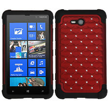 For Nokia Lumia 820 HYBRID IMPACT Dazzling Diamond Case Phone Cover Red Black