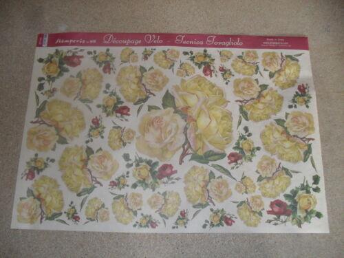 rose jaune 48X33,5cm papier voile pour découpage technique serviette