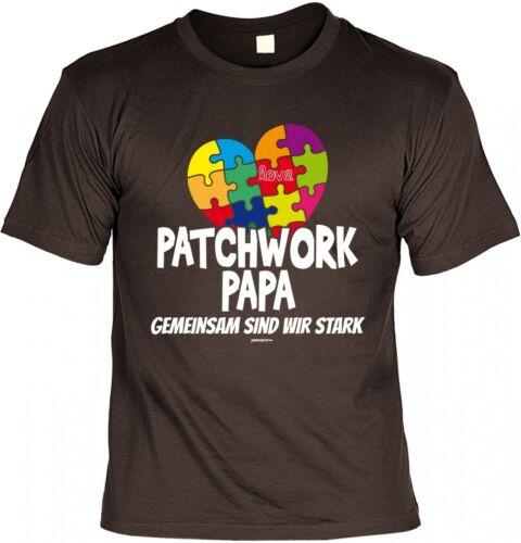 Pères T-Shirt-Patchwork Papa-multicolore cœur-Shirt Cadeau Pères Humour