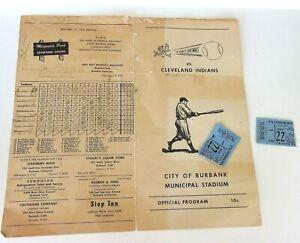 Vintage-scarce-baseball-Cleveland-Indians-St-Louis-Burbank-program-tickets-1950