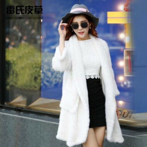 Knitted Overcoats Mink Natural Womens Outwears Coat Gift Fur Christmas Real 100 6x4vSH
