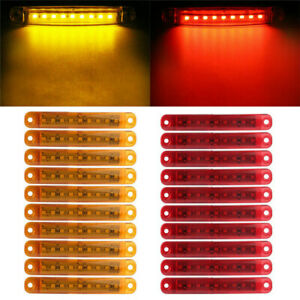 20pcs-9-LED-Bus-Truck-Trailer-Side-Marker-Indicators-Lights-Red-Amber-Waterproof