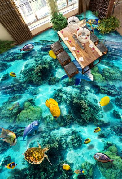 3D The Sea Dolphin 4122 Floor WallPaper Murals Wallpaper Mural Print AJ AU Lemon