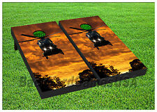 VINYL WRAPS Cornhole Boards DECALS Helicopter Army Bag Toss Game Stickers 196