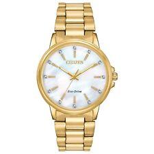Women's Citizen Chandler Crystallized Gold Tone Steel 37mm Watch Fe7032-51d