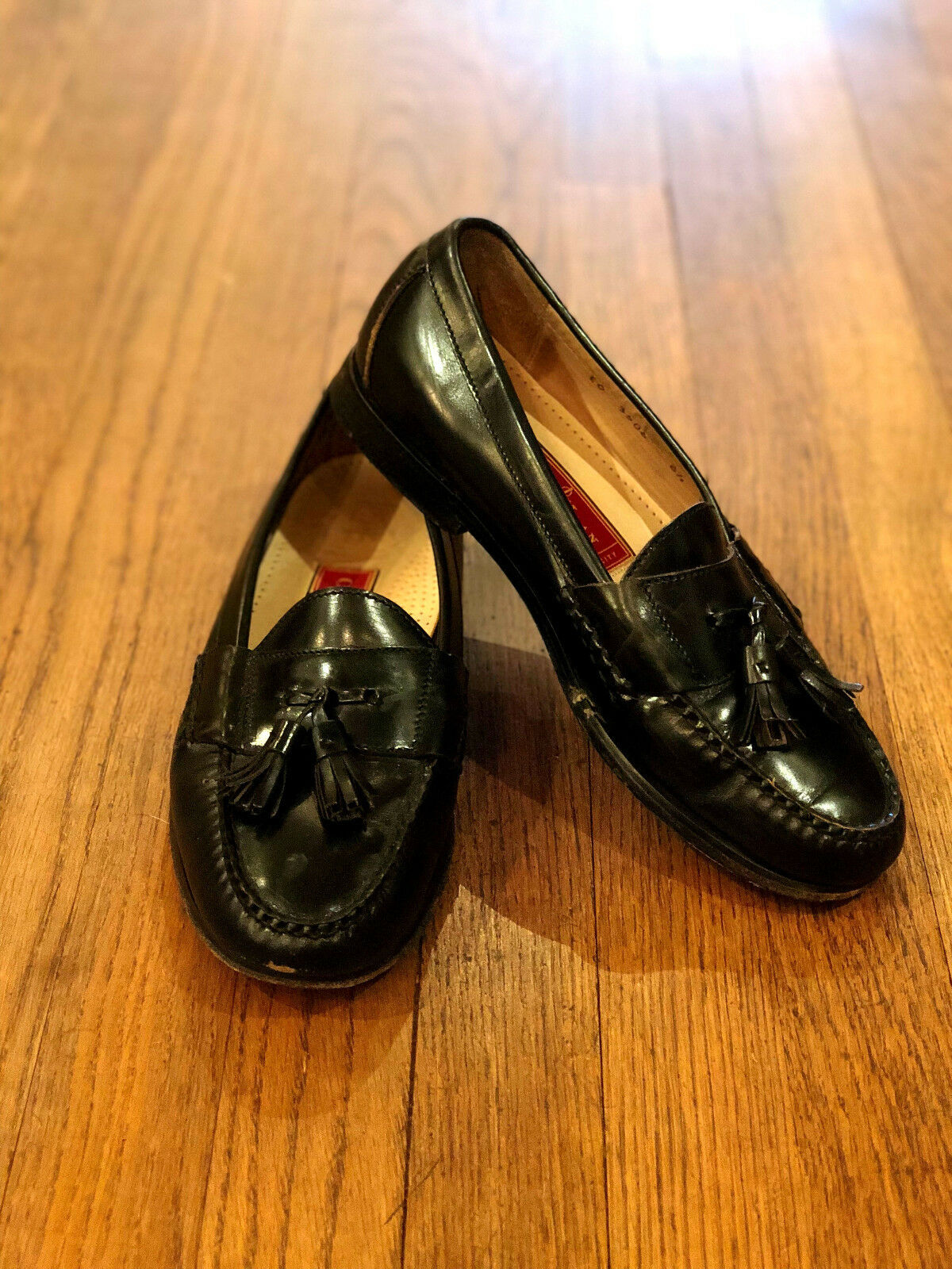Cole Hahn loafers black leather men's tasseled loafers Hahn size 8.5 9340d4