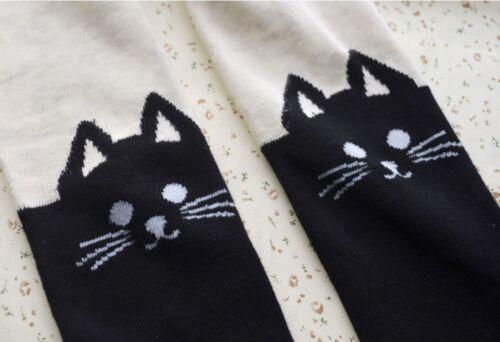 US Toddler kids girls Skinny Stretch Leggings long socks cute cat kawaii Cotton
