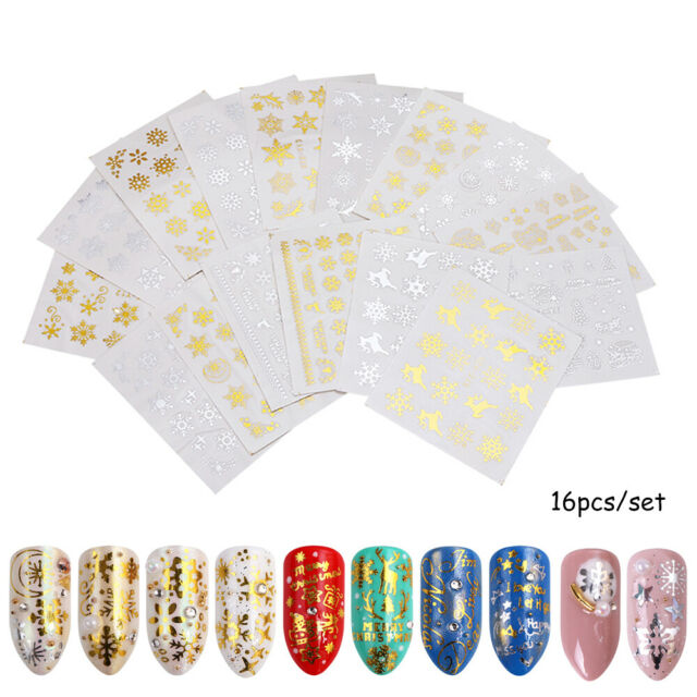 16x Glitter Gold Silver Water Transfer Christmas Nail Sticker Decals c