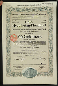GERMANY-921-B-amp-V-Gold-Hypotheken-Pfandbrief-100-Goldmark-Boden-Kredit-Bank-Koeln