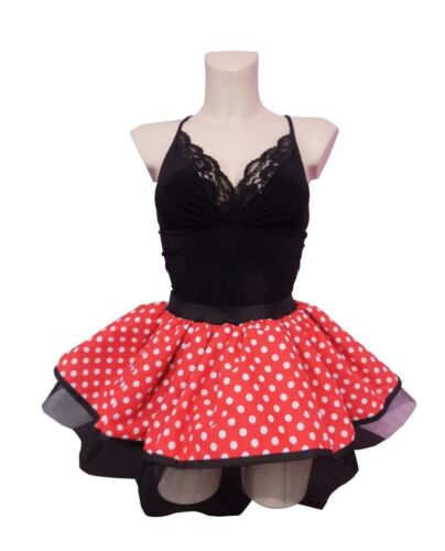 Details about  /Neon Tutu Skirt Minnie Mouse 80s Fancy Dress Hen Party Red White Polka Dot Spots