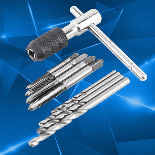 9Pcs//Set M3-M6 T-Handle Screw Thread Taps Reamer Wrench with Twist Drill Bits LE