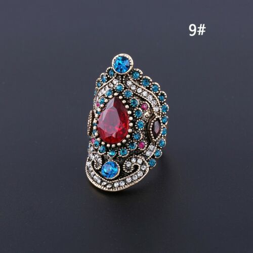 Vintage Femme bohème Ruby Crystal Finger Ring Fashion Jewelry Taille 7-10