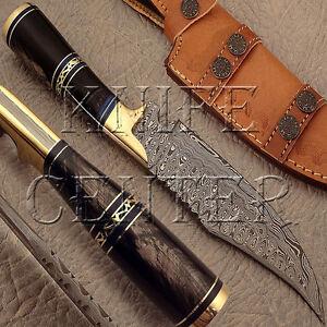 BEAUTIFUL-RARE-CUSTOM-DAMASCUS-HUNTING-KNIFE-BOWIE-KNIFE-BULL-HORN-HANDLE