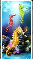 Sea Horses/underwater Scene 30x60 Velour Beach Towel