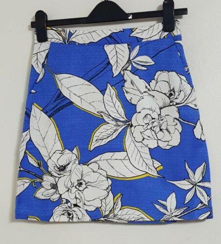 EX Warehouse Blue Multi Floral Print Tulip High Waisted Summer Skirt Size 8-12