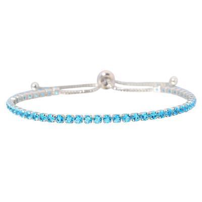 Aquamarine Silver Women Jewelry Gemstone Party Adjustable Chain Bracelet NS1966