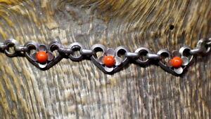 traumschöne alte Silberkette 835er Silber Kette Herzen Blüte Koralle? 42 cm