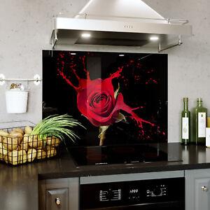 Glass Splashback Kitchen Tile Cooker Panel ANY SIZE Red Rose ...