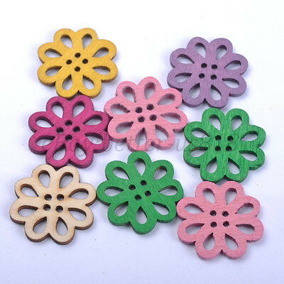 30Pcs Mixed Wood Flower Beads Charms Jewelry Findings Accessories 20MM A469