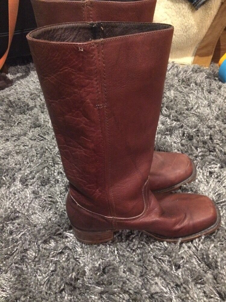 VINTAGE TALL CAMPUS FRYE BOOTS DISTRESSED LEATHER LIGTH BURGUNDY SZ 10 M