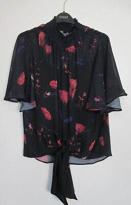 UK Size 6-20 Coast Nyla Deep Floral Print Tie Hem Party Top