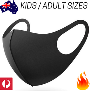 Black Washable Reusable Face Mask Kids Adult Size Protective Breathing Mouth Ppe Ebay