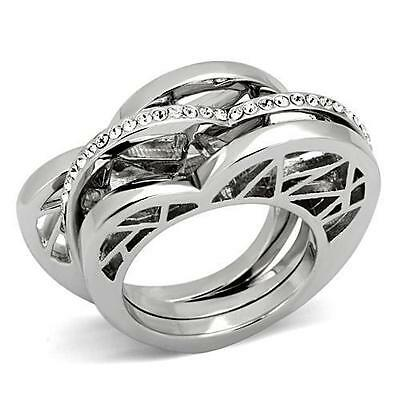 Stainless Steel Heart Crystal cz Stackable 3 Ring Flat Thin Band Set unique