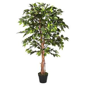 Variegated Topiary Plant with Pot Green Artificial Ficus Tree 4 Ft and 6 Ft