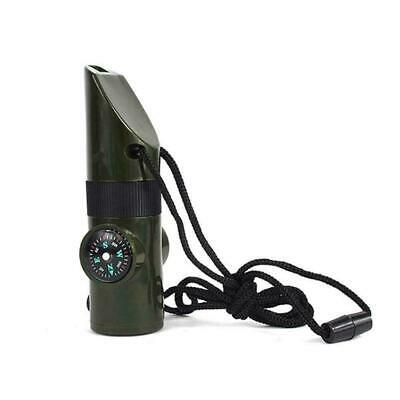 7 In1 Survival WhistleCamping Compass Thermometer LED Fire Magnifier D3W7