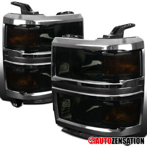For-2014-2015-Chevy-Silverado-1500-Smoke-Lens-Headlights-Lamps-Left-Right-Pair