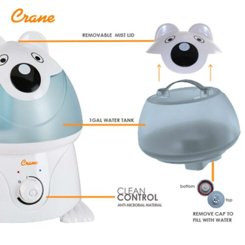 Crane Adorable Ultrasonic Cool Mist Humidifier with 2.1 Gallon Output per Day
