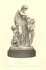The Widow's Curse, by J. Adams - Acton, Mother & Children, 1877 Antique Print.