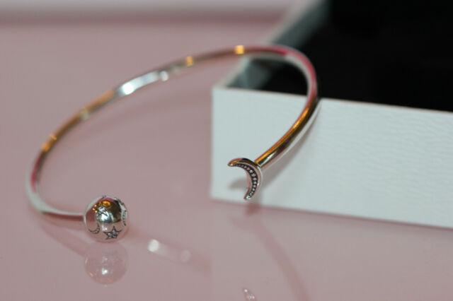 Pandora Moments Crescent Moon And Stars Open Bangle Charm Bracelet 599120c01 For Sale Online Ebay