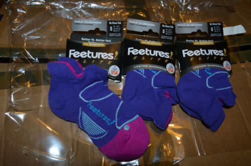 3 Pairs of Feetures Elite No Blisters Max Cushion Purple Socks 2-4.5//34-37