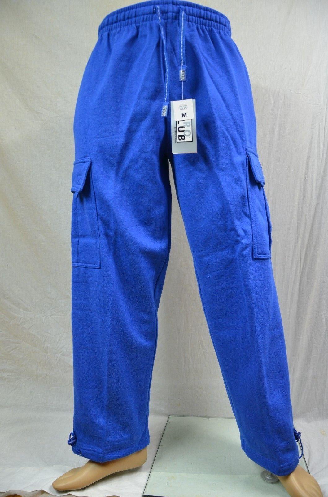 Pro Club Fleece Cargo Sweatpants Royal bluee Heavy Weight Jogging Mens S-7XL