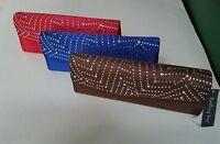 Rolling Sage Brand Evening Handbag Purse Clutch Bronze- Blue- Red