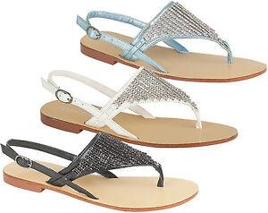 Ladies-Designer-Summer-Sandals-Women-Diamante-Flat-Toe-Post-Slingback-Shoes-3-8