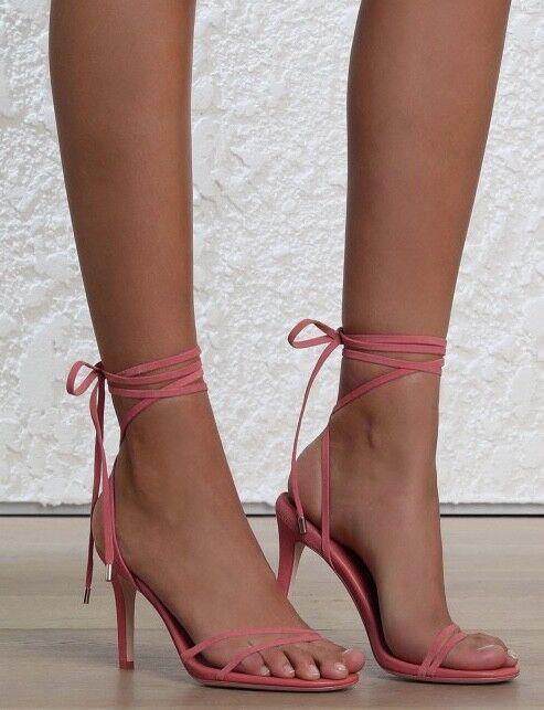 Zimmermann Tie Sandal Heel   Bright Pink Suede Summer Stiletto Shoes   $550 RRP