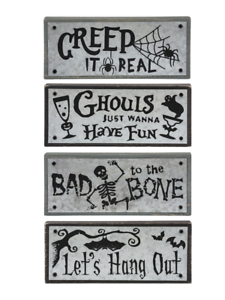 Halloween-Skull-Bat-Spider-Sign-Set-4-Wood-Block-Table-Decor-6-034-x2-5-034