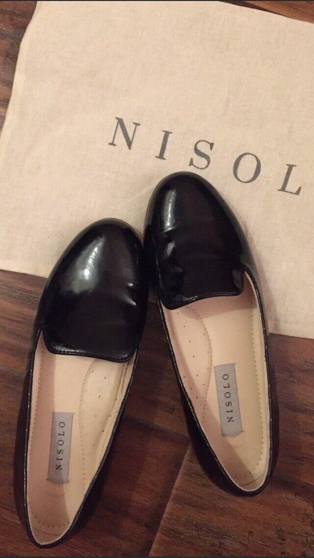 Zapato de Charol de fumar nisolo, Negro, Negro, Negro, 6 de EE. UU.  mejor opcion