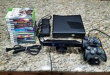 XBOX 360 SLIM BUNDLE W/14 GAMES-HOOKUPS-2 CONTROLLERS-KINECT *250gb*