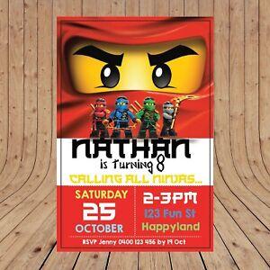 Personalised Lego Ninjago Kids Party Invitations Invites Digital You