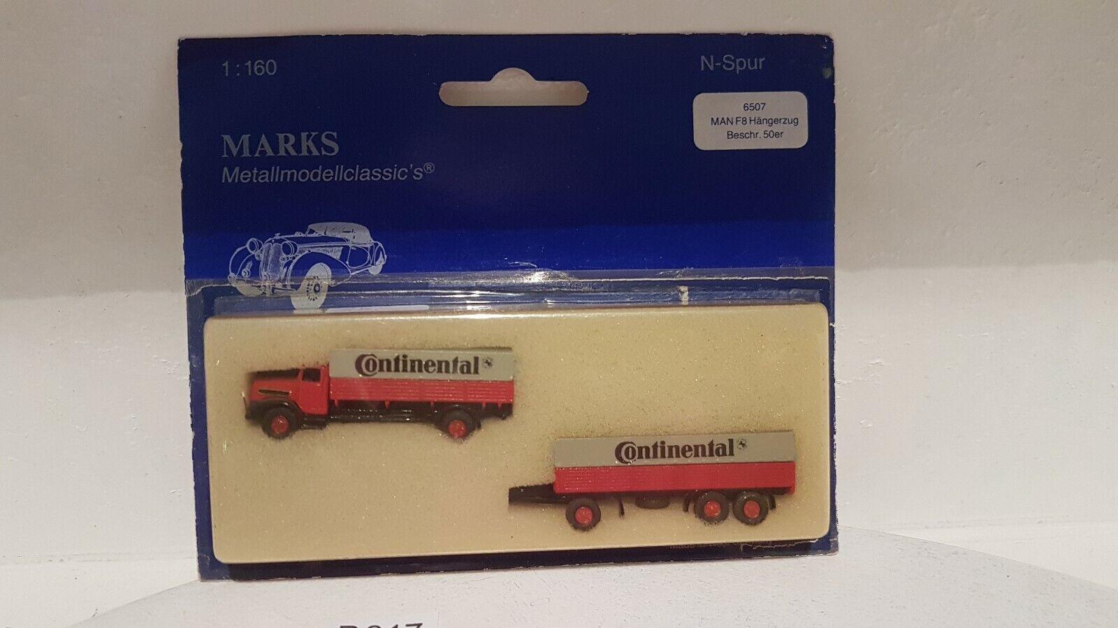 Marks 6507 MAN f8 hängerzug cont metallo modello Traccia N in scatola originale buono stato (b917)