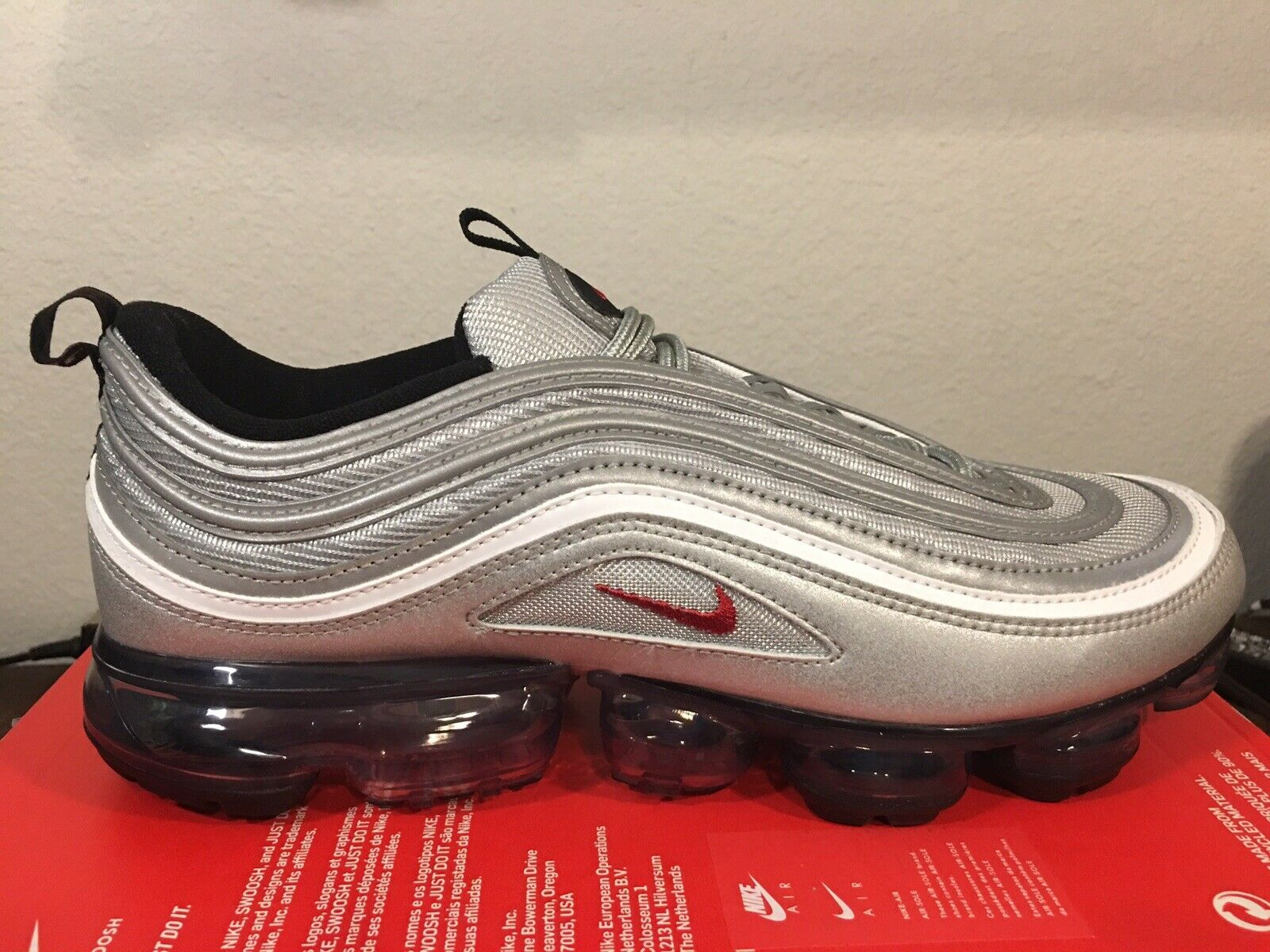 quality design 0fc9b 4582f Nike Air Vapormax 97 OG Metallic Silver Bullet Men Running Shoes Aj7291-002  8.5