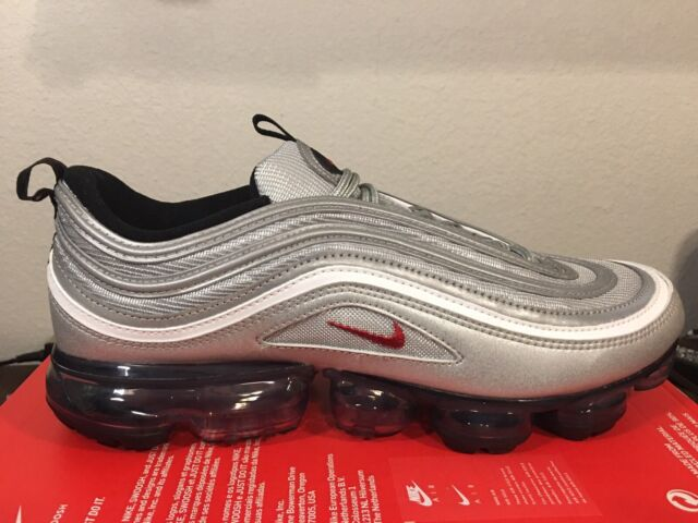 quality design f5069 42502 Nike Air Vapormax 97 OG Metallic Silver Bullet Men Running Shoes Aj7291-002  8.5
