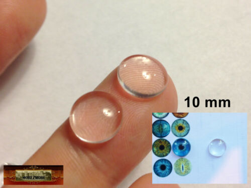 M01205 MOREZMORE 10 Clear 10mm Glass Dome Round Lens Cabochon Doll Eyes
