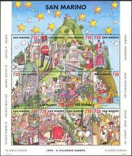 San Marino 1993 European Village/Buildings/Bus/Boats/Windmill 12v sht (n43399)